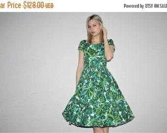 Weekend SALE - Vintage 1950s Green Rose Floral Border Print Novelty Cotton Cupcake Pinup Bombshell Party Dress  - Vintage 50s Cotton  Dress