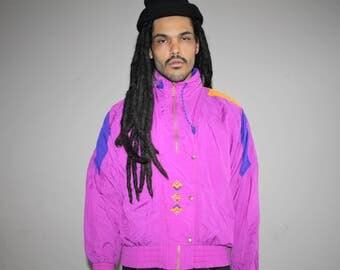 1990s Vintage Puma Pink Colorblock Hip Hop Windbreaker Jacket - 90s Windbreakers - 90s Clothing - MV0059