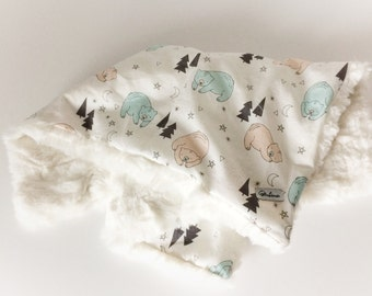 Baby Lovey Blanket - LOVEY Blanket / Bear Baby Blankets / Minky Blanket / Baby Nursery Blanket/ Baby Gift /READY to Ship