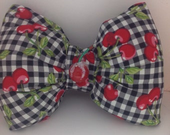 Puffy Bow/ Gingham fabric/Handmade Hair Bow/Cherry/Sweet Lolita/OOAK Hair Bow French Barrette/Harajuku/Sweet Lolitta