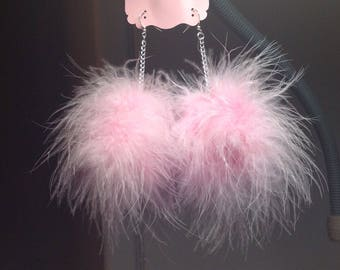 Feather Earrings/Fluffy Earrings/Marabou Feathers/8 Colors/Pom Pom Loop Earrings/Feather Earrings/Marabou Fluff