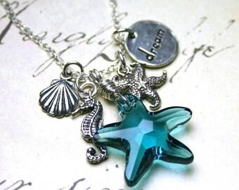 ON SALE The Coronado Beach Necklace - Swarovski Crystal Starfish and Sea Charms Necklace - Swarovski Crystal and Sterling Silver
