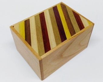 Japanese Puzzle box (Himitsu bako)- 90mm(3.5inch) 12steps Cherry wood / Stripes