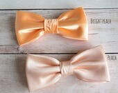 Mens Bow Tie, Peach Bright Peach Bow tie, Satin Solid BowTie, Bow Tie for Wedding, Bow tie for Groom & Groomsmen, Kid Baby Boy Bow Tie