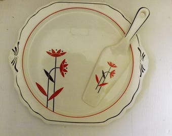 Antique Harker Pottery , Cake Plate and Server , Deco Daisy Pattern