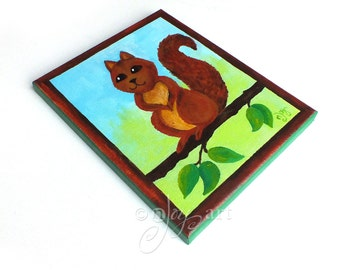 Whimsical Squirrel Painting, Art For Kids Rooms, Nursery Decor, 8x10 acrylic canvas