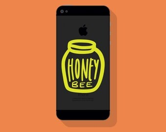 New! - Honey BEE VINYL Decal, Illustrated Honey Pot Decal, Phone Decal, Vinyl Sticker
