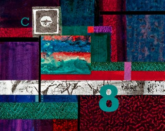 Original mixed media collage biblical theme Genesis red purple teal burgundy blue 18x18 painting on canvas