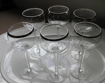 Six Silver Rimmed Vintage Wine Glasses / Cordial Glasses / Mid Century