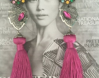Sale 20% OFF COLORFUL GARDEN Vintage Coro Multi Gemstones Clip On with Pink Tassel Earrings