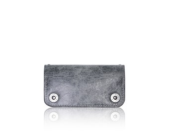 iPhone 6, iPhone 7 RETROMODERN aged leather wallet - - GRAY