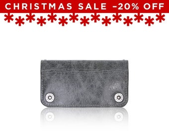 Christmas Sale -20% Off - - iPhone 6+, iPhone 7+ RETROMODERN aged leather wallet - - GRAY