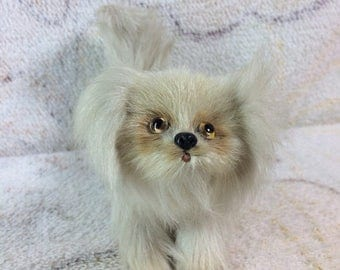 10% OFF Real Fur Dog With Glass Eyes Figurine Retro 70s 80s Pomeranian Small Breed