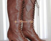 Custom order for Martine Knee High Boots Brown Victorian Booties Worn Brown Leather Boots Victorian Heeled Brown Boots Ankle boots Edwardian