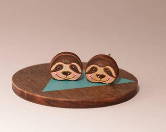 Smiley sloth laser cut and hand painted wooden stud earrings