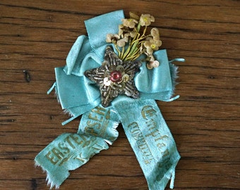 Antique Pale Blue Badge Pin Metal Buillion Star Collectible Badge Fraternal Photography Prop