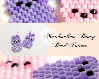 Brick Stitch Marshmallow Bunny PATTERN, Seed Bead Animal Pendant / Charm