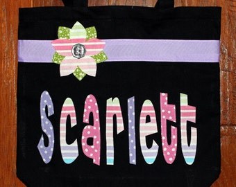 Large Personalized Tote with Ribbon & Flower Applique - kids book bag girl library school name custom birthday gift wedding flower  purse