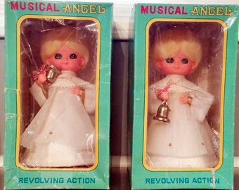 Vintage Roman Kogei Musical Revolving Angels with Bells Silent Night Made in Japan Original Boxes 1970s Cute Mid Century Music Figurines