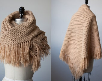 Vintage 70s Hand Knit Wool Scarf Shawl Wrap in Caramel Tan with Fringe Triangle Knitted Handknit