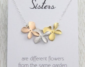 Spring SALE Sisters Necklace, Tri-Color Flower Necklace, Gift for Sisters and Best Friends, Bridal Rose Gold Necklace, Sisterhood Gift, S...