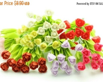 Miniature Polymer Clay Flowers Supplies Tulip with Leaves 12 stems