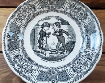 Vintage Gien France The Language of Flowers Canape Plate 60's 70's Speaking Vignettes Black & White Alice in Wonderland Like Illustration
