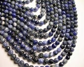 Sodalite - 8 mm faceted  round beads -1 full strand - 47 beads - RFG1244