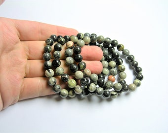 Black Silver leaf Jasper - 1 set - 8mm  - 23 beads - A quality - HSG36