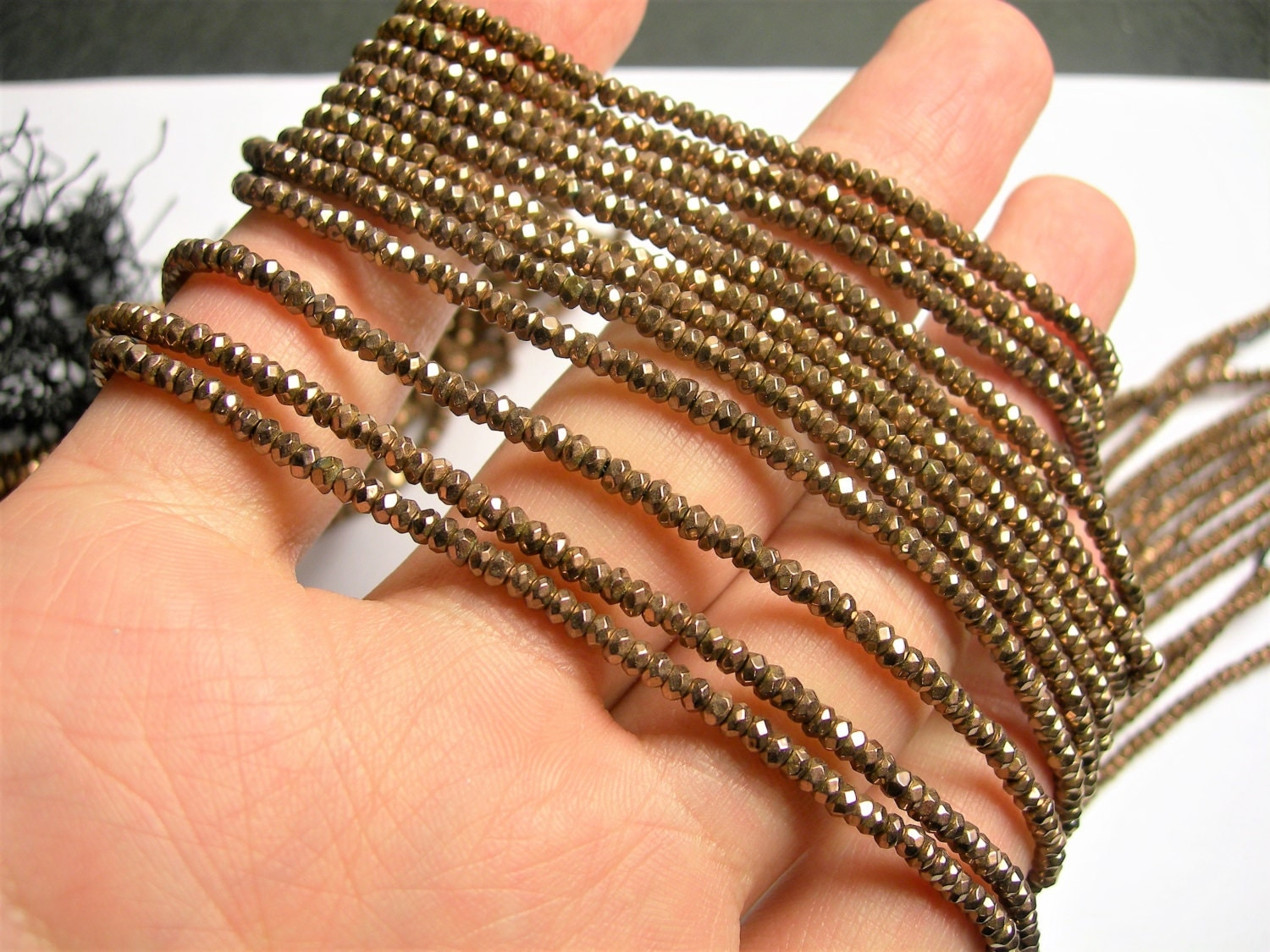 hematite copper bronze faceted rondelle beads full strand 230 beads a. Black Bedroom Furniture Sets. Home Design Ideas