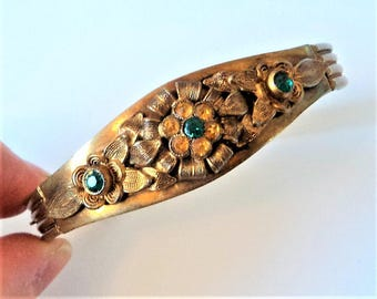 Green & Gold Hinged Bangle... Original Art Deco... Flower Cluster