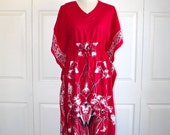 SALE 1970s Boho Hippie Caftan Dress . Vintage 70s Dark Pink Orchid Blossom Floral Bohemian Kaftan Dress .  Size Small Medium