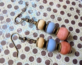Pink, Blue, White and Brass Ethnic Boho Earrings (3313)