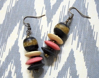 Pink, Black and White Ethnic, Tribal, Boho Earrings (3525)
