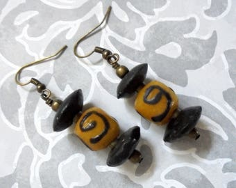 Black and Gold Ethnic, Tribal, African, Boho Earrings (3531)