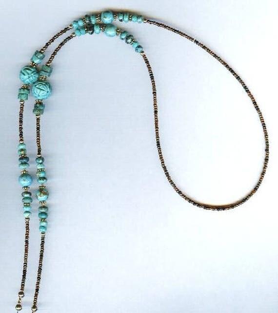 Carved Turquoise Gemstone Beaded  Eyeglass Chain or ID Badge Lanyard