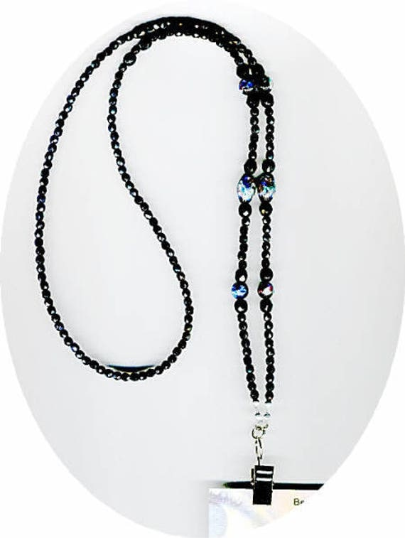 Elegant Japanese Hand Painted Black Foil Rounds & Ovals Beaded Eyeglass Chain or ID Badge Lanyard