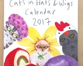 Funny Illustrated 2017 Cute Animal Calendar Cats In Hats & Wigs