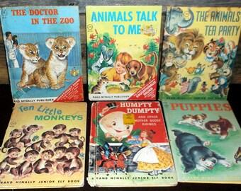 Kids animal books Vintage lot 6 Junior Elf Books 1960's Animals' Tea Party Animals Talk to Me Doctor at the Zoo Puppies Ten Little Monkeys