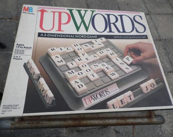 Game UPWORDS vintage 1988 board game a 3 dimensional word game by Milton Bradley ready for your family game night