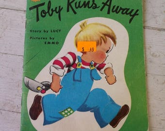 Vintage 1968 Sunny Book Toby Runs Away story by Lucy pictures by Emmo paperback collectible
