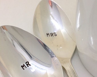 Mr, Mrs. spoons - Hand stamped spoon - Personalized spoon - Wedding Coffee spoon - Bride and Groom gift - Hand stamped silverware