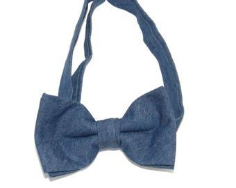 Men's Pre-Tied Blue Denim Bow Tie