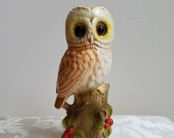 "Vintage Owl On Log Ceramic Statue 7.5"" Tall by Norleans Japan, Rustic Cabin Woodlands Decor"