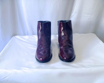Vintage 70's Ankle Boots with Stacked Heel and Leather Merlot Skin Roper Boot Style and Size-Zip Mens Size 9 D