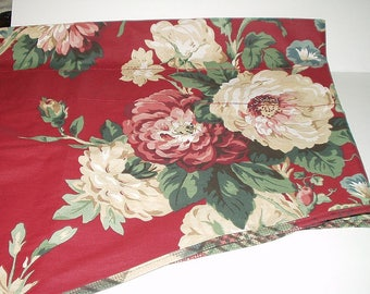 Swag Valance Echo 50% Cotton 50 polyester 102 Inch Window Treatment Maroon Burgundy Roses Floral 3 Available 4174
