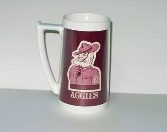 Vintage Texas A & M Aggies Thermo Serv Large Mug Sergeant Gig' Em AGGIES Collectible Mug Cup Fathers Day Gift 417