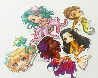 Chibi mermaid sticker set of 5