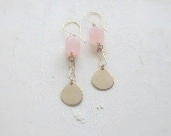 Rose Quartz Teardrop Earrings. Pink Gemstone Dangle Earrings. Modern Bohemian. Gold and Silver Drop Earrings. Boho Chic  - Melody Rose