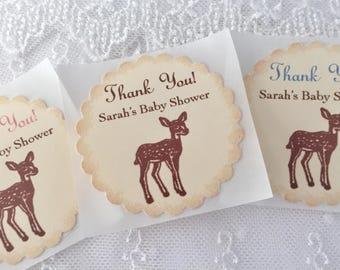 Deer Stickers Baby Shower Envelope Seals Woodland Forest Stickers Set of 10